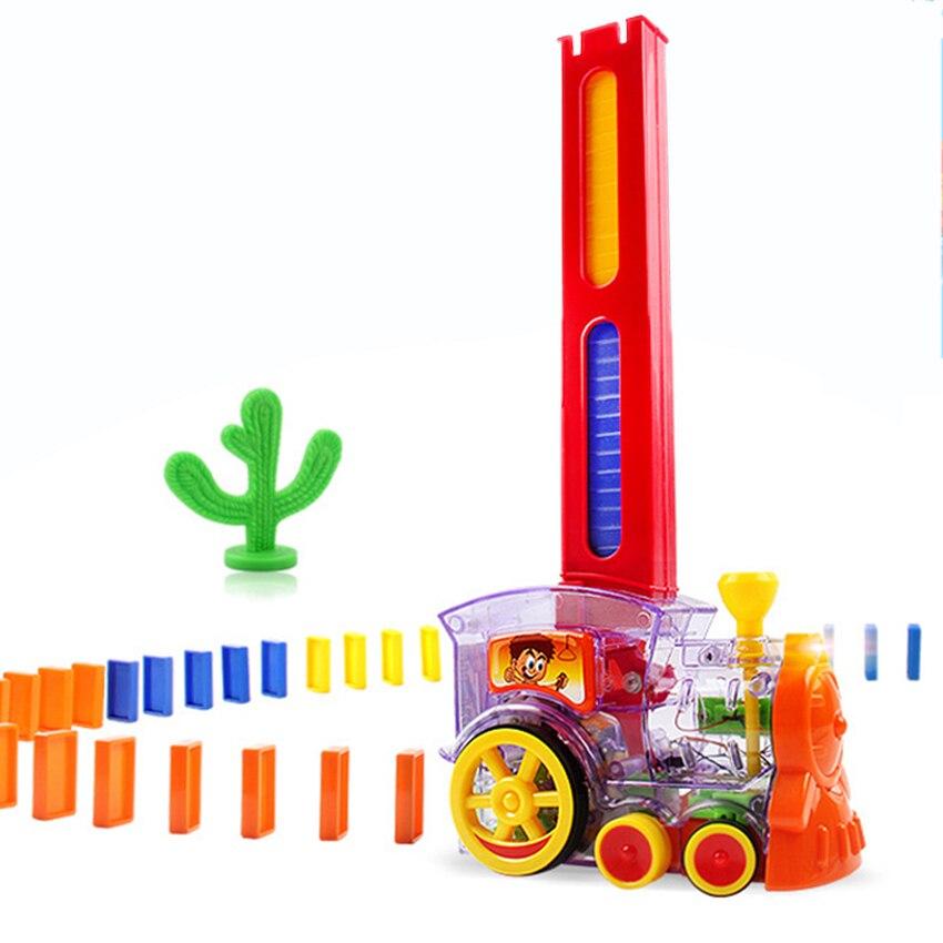 22 cm Domino Train modèle De Voiture Jouets automatique Met En Place 60 pcs Coloré Domino blocs jeu avec Cartouche De Charge jouets cadeau pour fille garçon