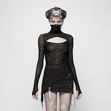 PUNK RAVE Women Punk T-shirt Knitted T-Shirt Dark Handsome Mask Styling Tees Hollow Design Chest Personality Tops for
