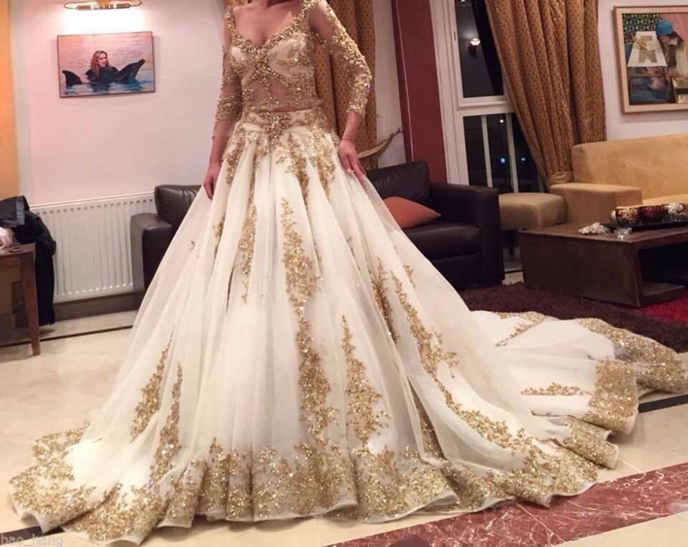 2019 Two Pieces Sheer Lace Muslim Wedding Dress Arabic Ball Gown Gold Lace Beads Luxury 3/4 Sleeves Bridal wedding Dresses-in Wedding Dresses from Weddings & Events    2