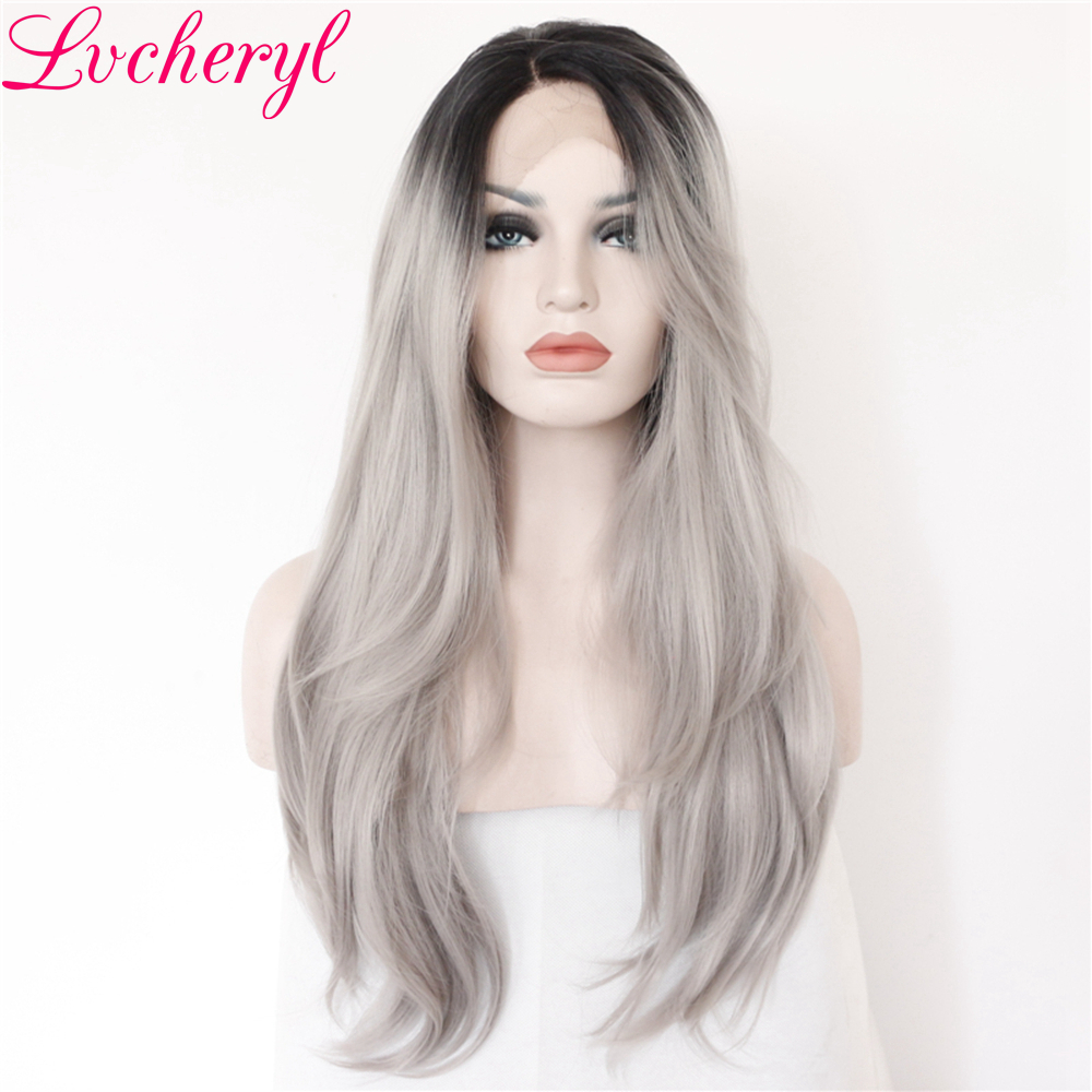 Lvcheryl Black Ombre Gray Long Wave Hand Tied Synthetic Lace Front Wig Heat Resistant Natural Hairline