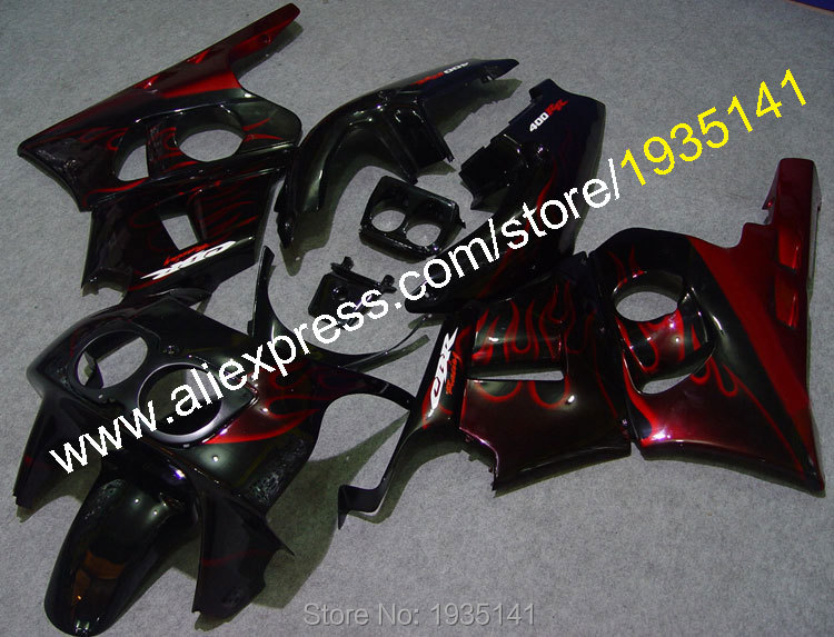 Hot Sales,Fairing For Honda CBR400RR NC29 Body Kit 1990-1998 CBR 400 RR 90-98 1993 1994 1995 Red Flame ABS Motorcycle Fairings