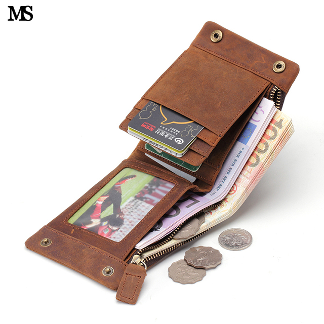MS Real Leather Wallet Men Organizer Wallets Vintage Genuine Leather Cowhide Short Men's Wallet Purse With Coin Pocket Q352-5