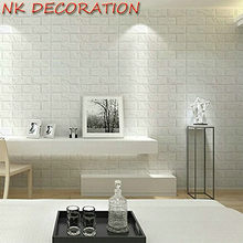 White 3D Modern Design Brick Wallpaper Roll XPE Foam Wall Covering Wall Paper Living Room Store Background Party Backdrop Decor(China)
