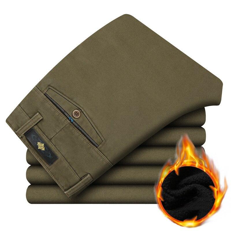 Модные Для мужчин; повседневные штаны зима прямые Для мужчин толстые брюки высокое качество мягкого флиса теплые штаны Свободные мужские панталоны