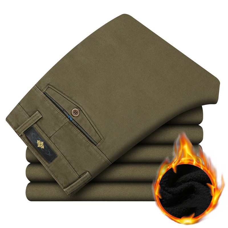 Trend Males's Informal Pants Winter Straight Males Thick Trousers Stable Excessive High quality Mushy Fleece Heat Pants Free Pantalon Homme