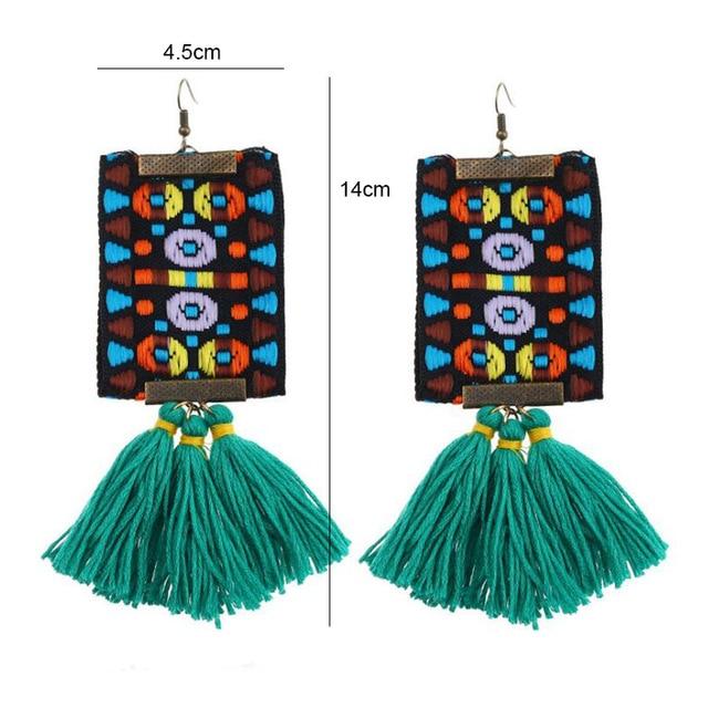 New Creative Tassel Earrings Exaggerated large Fan Shape Fringe Earrings National Style Bohemian Boho Fashion Jewelry Gift