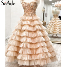 SoAyle Ball Gown 2018 Prom Dresses Lace 3D Evening Dresses