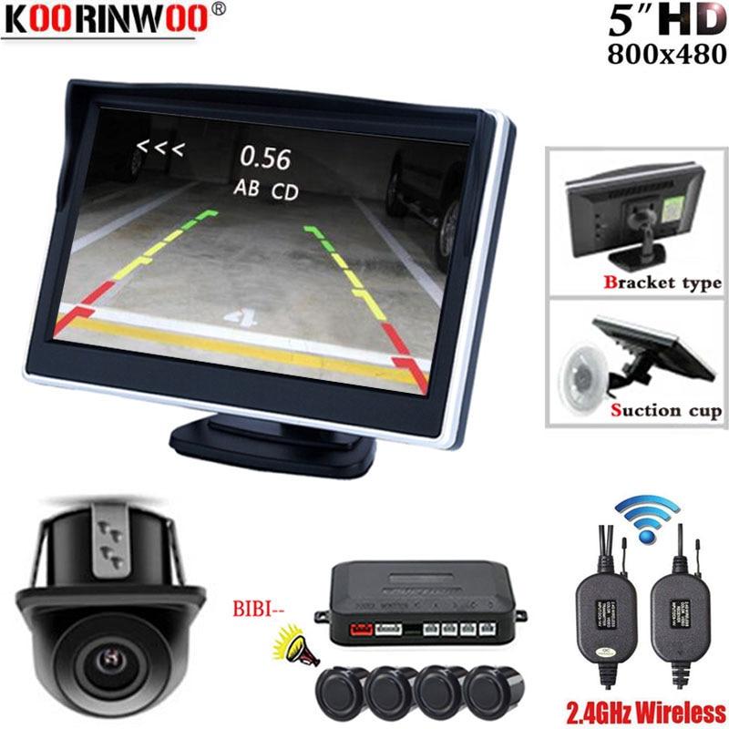Koorinwoo 2 4G Wireless Car Parking Sensor Kit 4 Radar Detector Backlight Display Monitor Reverse Backup