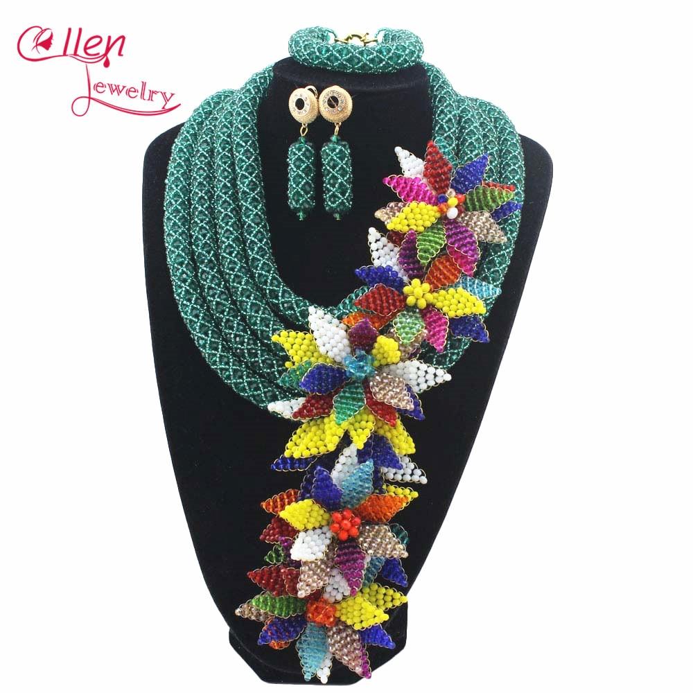 Luxury African beads jewelry sets india flower beaded nigerian wedding beads necklace dubai jewelry set W12891Luxury African beads jewelry sets india flower beaded nigerian wedding beads necklace dubai jewelry set W12891