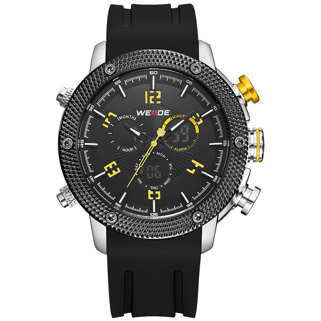 New Arrival WEIDE Fashion Casual Men's Watches Digital Quartz Dual Movement 3ATM Waterproof Back Light Silicone Strap Watches