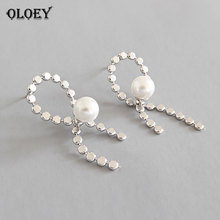 OLOEY Korea Style Real 925 Sterling Silver Bowknot Earrings for Women Simple Chic Pearl Stud Earring Jewelry 2019 Hot New YME453