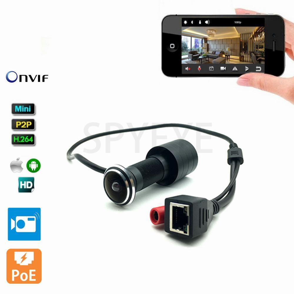 1080 p HD Intérieur Porte Eye Trou H.264 1.78mm Objectif Grand Angle 140 Degrés CCTV Réseau Mini Judas POE porte IP Caméra P2P Onvif
