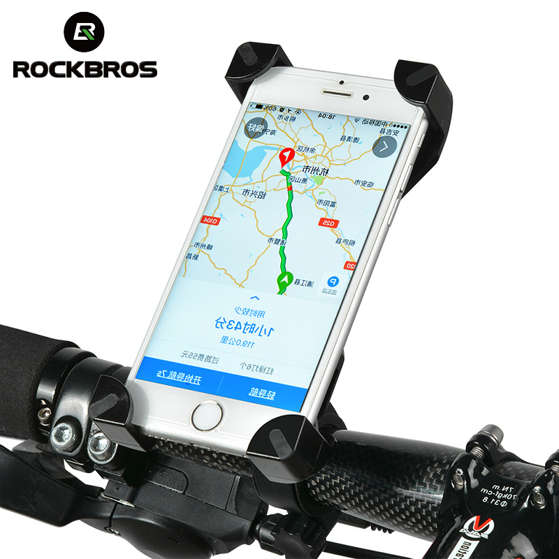 ROCKBROS Adjustable Bicycle Bike Phone Holder Bike Handlebar Clip Stand Mount Bracket for IPhone Samsung HTC Sony Cellphone GPS