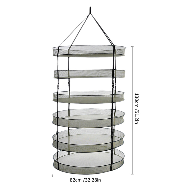 New Arrival Collapsible Drying Basket Net Hanging Plant Clothes Basket Drying Rack  4 6 8 Layers Mesh For Garden Use