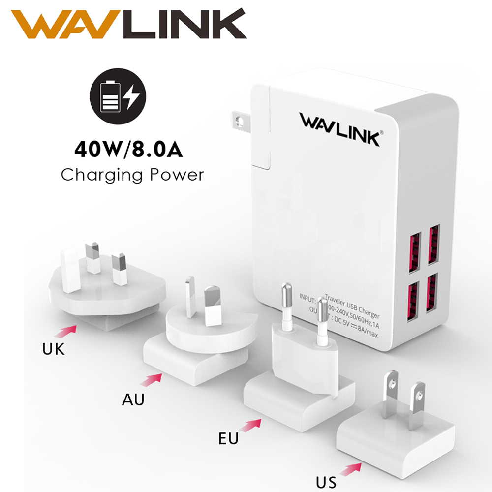 Wavlink 4Port USB Charger 4in1 Portable Travel USB Wall Charger Adapter Mobile Phone Charger EU/US/UK/AU Plug for iPhone Samsung