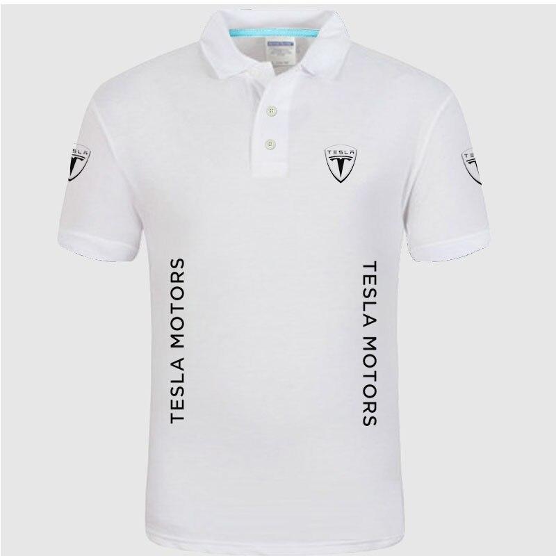 1292a23535f Лето Высокое качество Марка Тесла логотип поло футболки с коротким рукавом  модная повседневная Однотонная рубашка поло