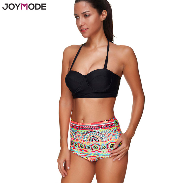 585549583a JOYMODE High Waist Bikini Set 2017 Halter Neck Push Up Sexy Swimsuit Women  Two Pieces Bandeau Bikini Plus Size Bathing Swimwear
