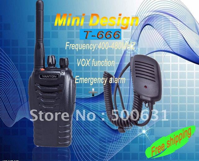 Free shipping+2pcs/lot+one year warranty YANTON T-666 400-480mhz  long range walkie talkie with microphone and programming cable