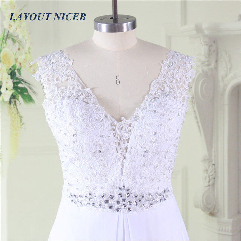 Cheap Chiffon Beach Wedding Dress 2019 Rhinestone Lace Appliques Sexy V neck Backless Formal Wedding Gown robe de soiree in Wedding Dresses from Weddings Events
