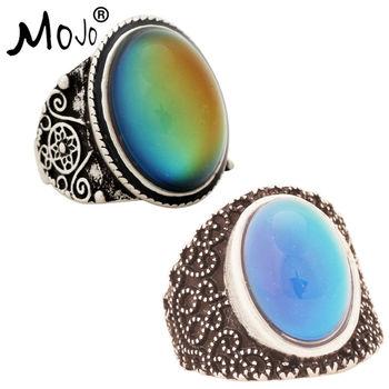 2 uds antiguo Color enchapado en plata cambios de humor anillos cambiando de Color temperatura emoción sentimiento anillos para las mujeres/hombres 004-005