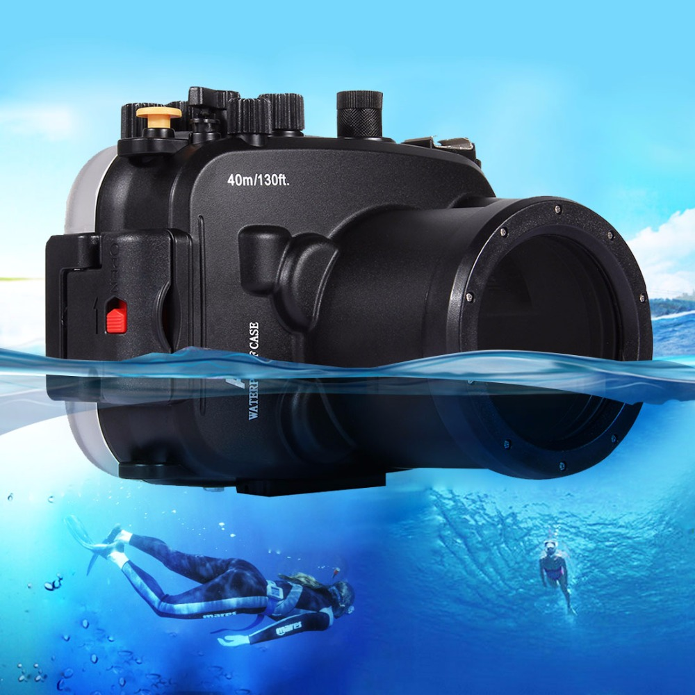 PULUZ 40m Underwater Depth Diving Case Waterproof Camera Housing for Sony A7 / A7S / A7R 40m 130ft waterproof underwater camera diving housing case aluminum handle for sony a7 a7r a7s 28 70mm lens camera