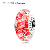 ATHENAIE Genuine Murano Glass 925 Silver Core Faceted Fascinating Iridescence Red Passion Charms Bead Fit All