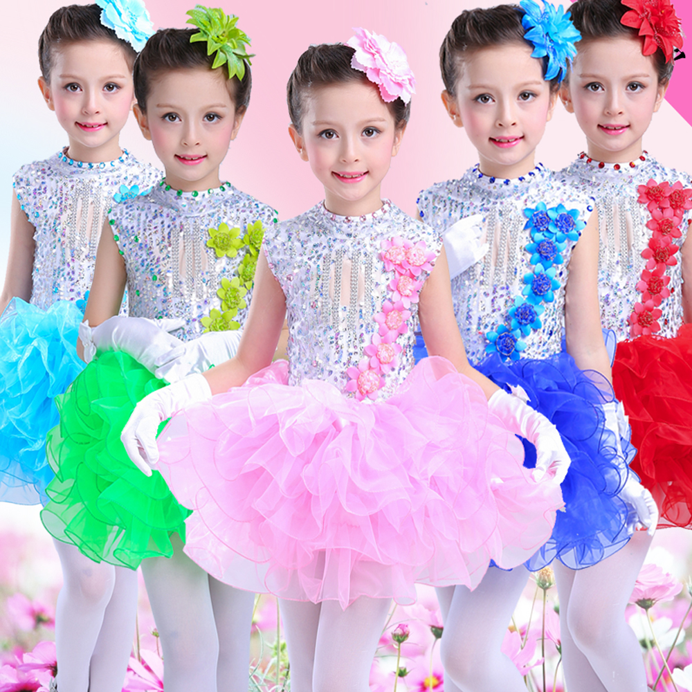Girls Fluffy Skirt Princess Dress Childrens Modern Stage Performance Clothing Kindergarten Day New Years Day Holiday Costumes Home