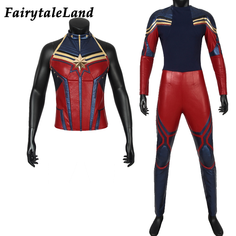 Avengers 4 Endgame Captain Marvel Cosplay Outfits Halloween Costume Carol Danvers Props Cosplay Suit Fancy leather Jumpsuit