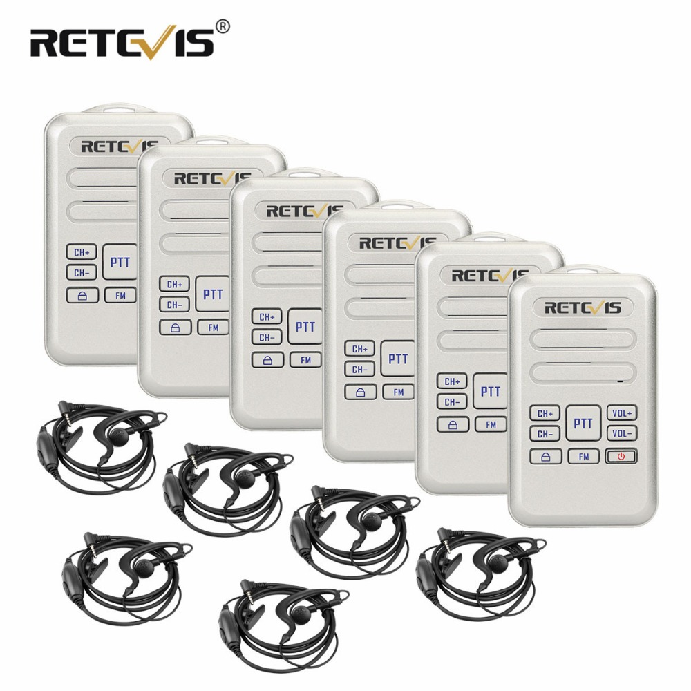 6pcs Retevis RT20 Walkie Talkies With Headset Mini Two Way Radio 2W 16CH VOX CTCSS DCS
