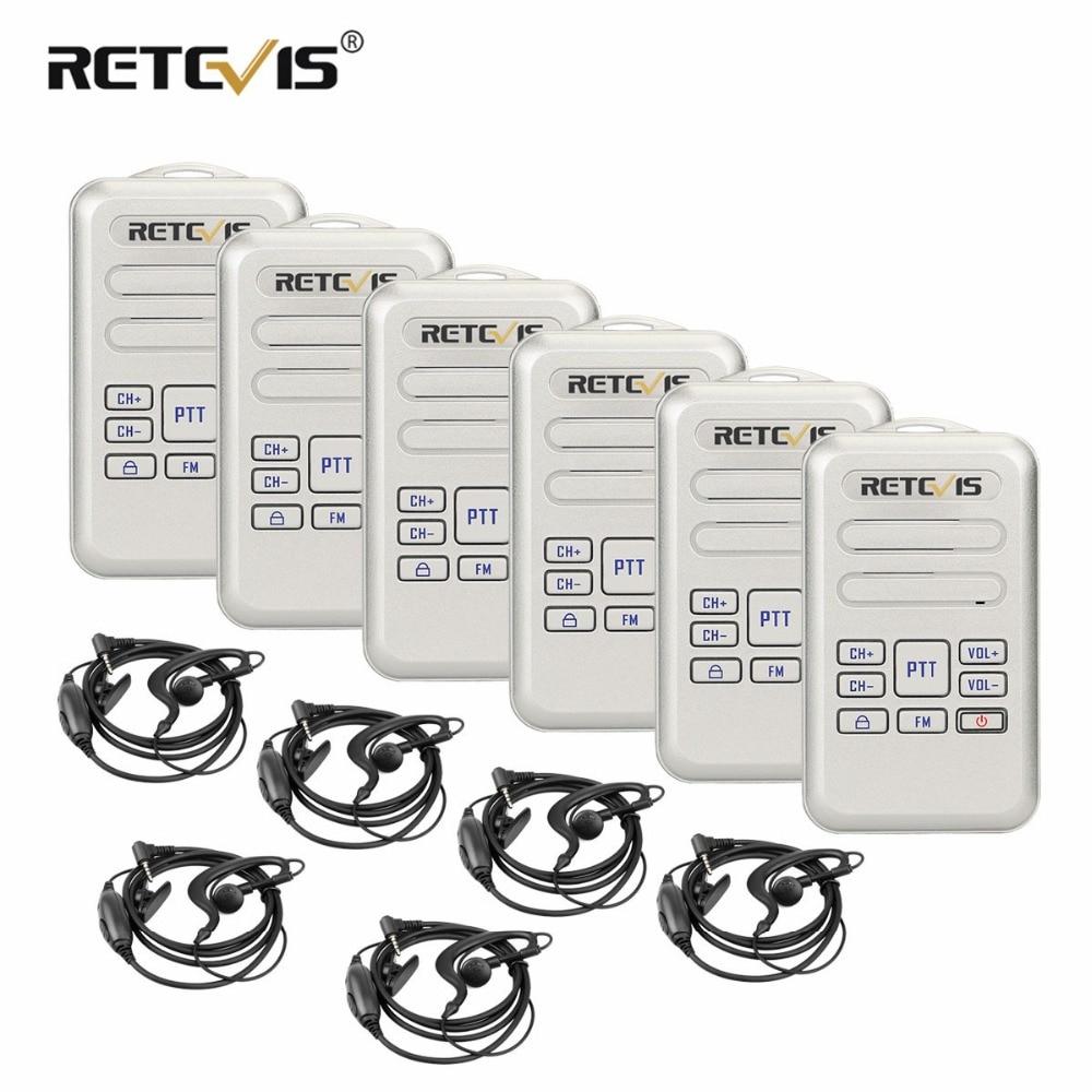 6 pcs Retevis RT20 Talkies-walkies Avec Casque Mini Two Way Radio 2 w 16CH VOX CTCSS/DCS Type -C USB Charge FM Radio Comunicador