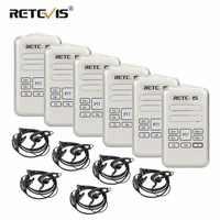 6pcs Retevis RT20 Walkie Talkies With Headset Mini Two Way Radio 2W 16CH VOX Intercom Type-C USB Charge FM Radio Comunicador