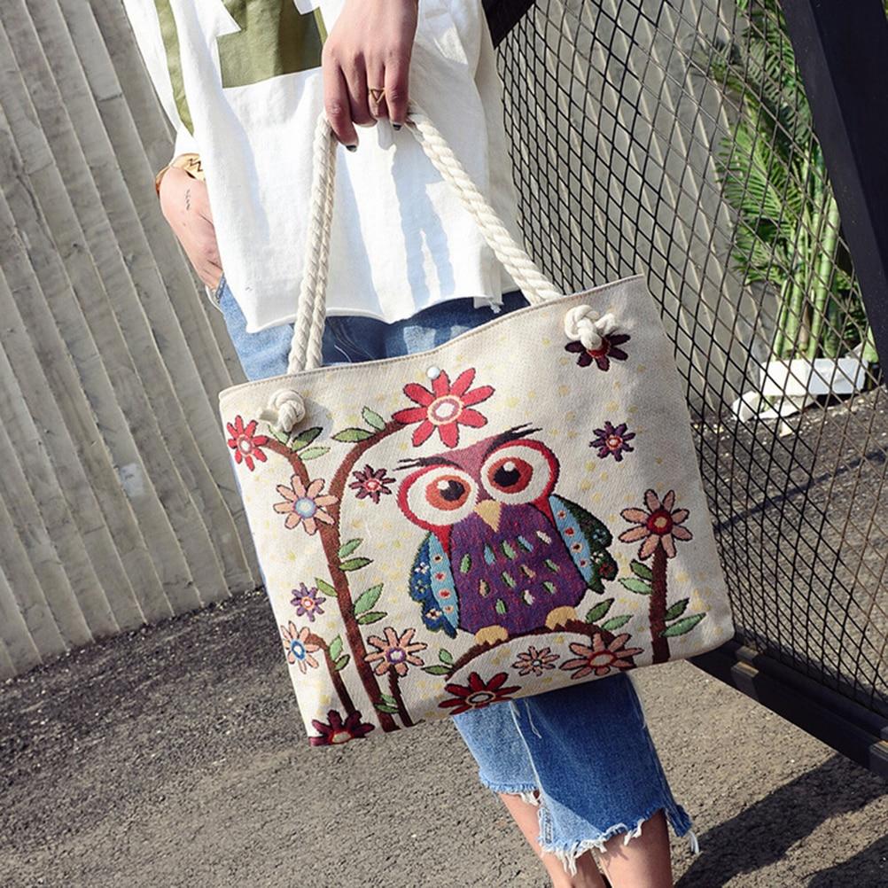 100% QualitäT Große Täglichen Gebrauch Leinwand Handtaschen Kapazität Frauen Einkaufstasche Floral Und Eule Gedruckt Leinwand Tote Weiblich Beiläufiger Strand Taschen