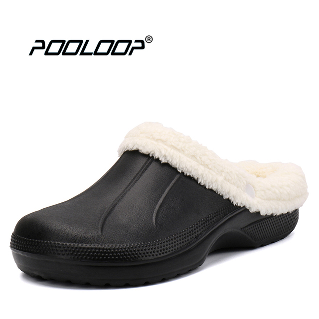 Pooloop Fur Lined Slippers Hombre Winter Warm Warm Warm Crocus Clogs Removabel Lining House S 1b1bbf
