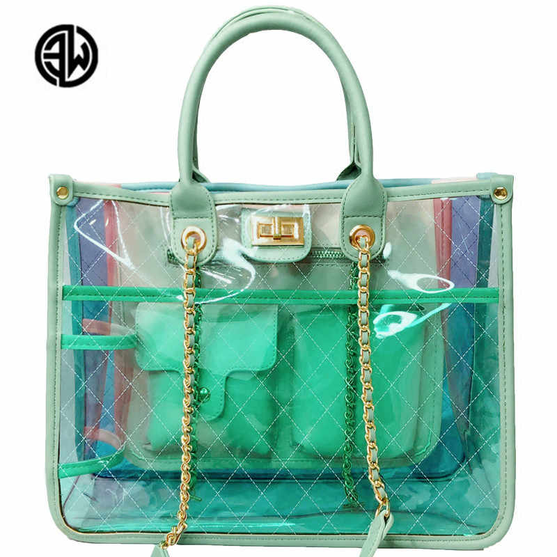 46b1e9ebb7ea Luxury Brand Chain Transparent Bag Women Big Clear Women Plastic Bag PVC  Jelly Handbags Letter Printing