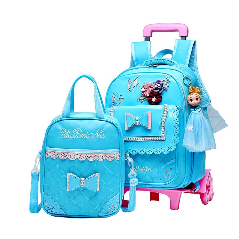 2PCS SET Children School Bags Removable Boys Girls Cartoon Trolley Backpack 2 6 Wheels Child Climb