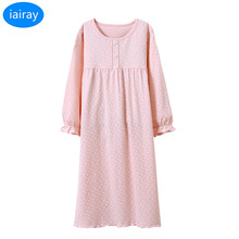 spring autumn long sleeve night gown kids pajamas pink loose sleeping dress cotton fabric children clothes wholesale