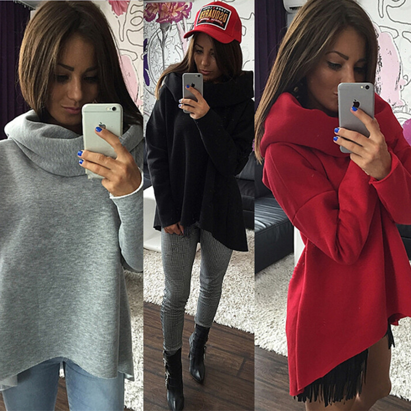 DICLOUD Women Christmas Clothes Winter Autumn Hoodies Scarf Collar Long Sleeve Fashion Casual Sweatshirts Rough Pullovers S-XL