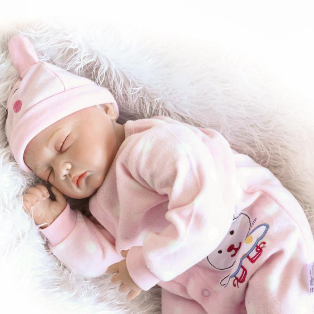 Hot! NPK Doll 22 inch Reborn Baby Doll Realistic Soft Silicone Cloth Body Babies Girl Pl ...