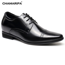 CHAMARIPA Increase Height 7cm/2.76 inch Men Dress Elevator Shoes Formal Tall Men Shoes Black Gentlemen Height Increase Shoes