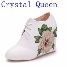 Crystal Queen Botas Women Motorcycle Ankle Boots Wedges Female Lace Up Platforms Autumn Winter Shoes Woman High Heels Flower