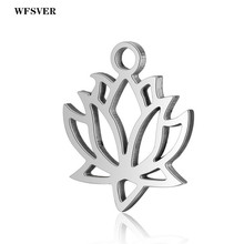WFSVER 5pcs/lot 11.8*14.1mm Silver Color Stainless Steel Lotus Flower Charms Pendants For Women Diy Necklace Jewelry Making