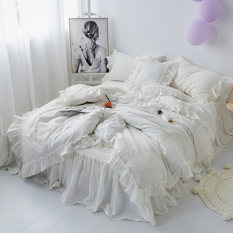 washed cotton shabby chic ruffled duvet cover set quilt cover korean princess girls bedding set bedskirt twin queen king size
