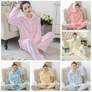 Image 5 - Зимние пижамные комплекты для женщин из двух предметов, фланелевый толстый теплый топ и штаны, пижамные комплекты, милые животные, кавайные пижамы, одежда для сна, Пижамный костюм
