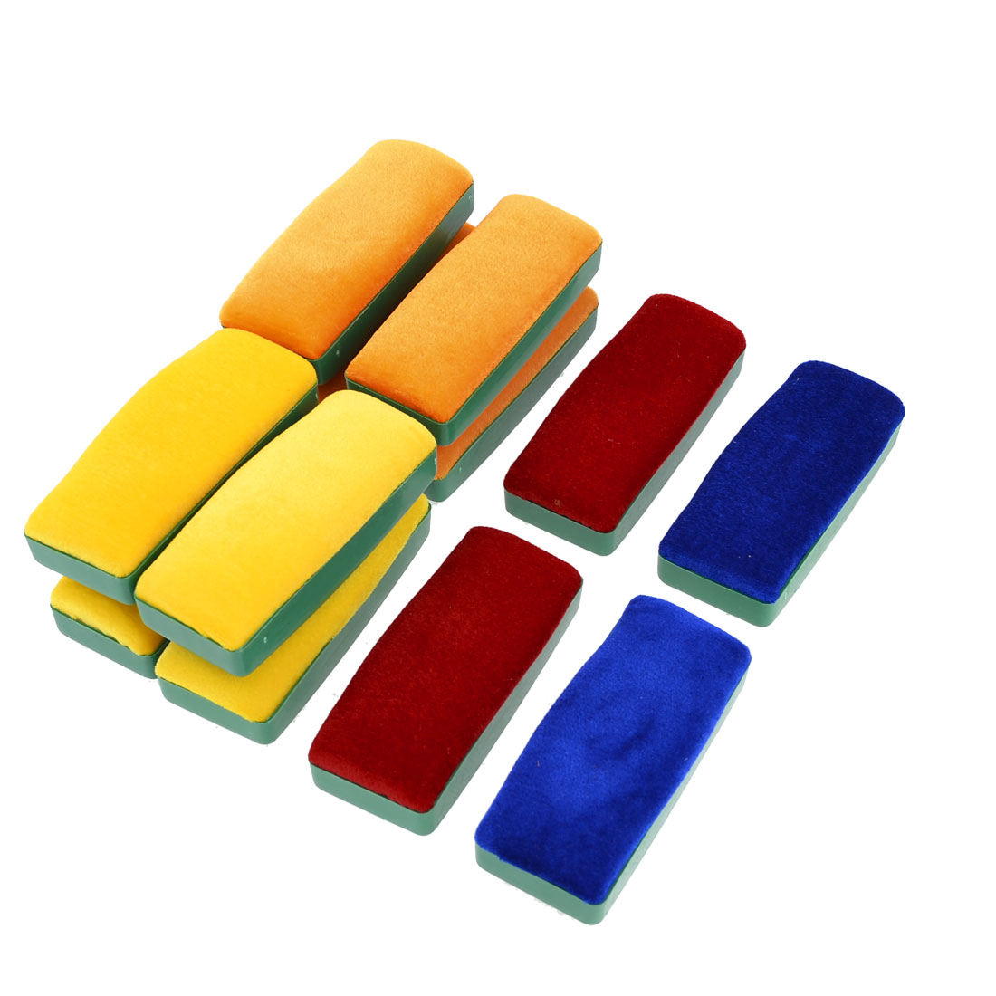12 Pcs Green Plastic Housing Velvet Blackboard Eraser Chalk Cleaner