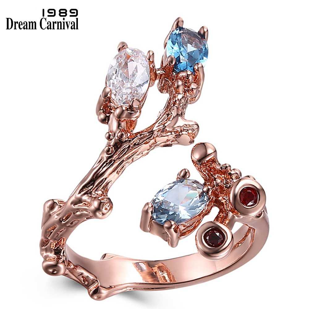 DreamCarnival 1989 винтажная роза, золото цвет кольцо с открытыми концами дизайн цветок завод выглядеть синий и прозрачный Циркон Модные украшения WA11546
