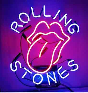 Rolling Stones Glass Neon Light Sign