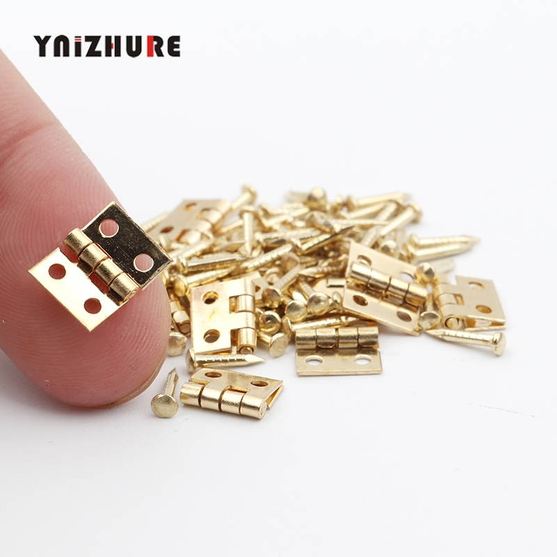 10Pcs Smallest coppe Brass Mini Hinge Decor Door Hinges Wooden Gift Jewelry Box Hinge Fittings for Furniture Hardware Nail