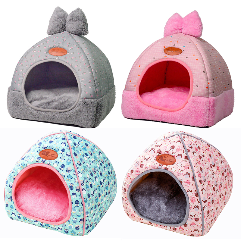 Small Pet Dog House Kennel Bed Mat Cat Blanket Pets Tent Unfolding To Be Thicken Winter Pet Beds Mattress Flannel Fabric Warm