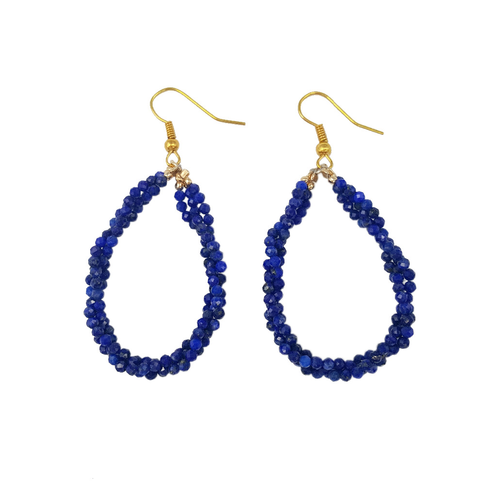 Lii Ji Gemstone Natural Lapis Lazuli 2mm 925 sterling silver Gold Color Drop Dangle Earrings pair of retro style tai ji color block drop earrings for women