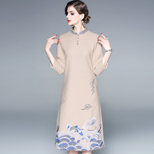Fashionable and gorgeous brand spring and autumn winter embroidery temperament ladies cheongsam Slim mid-length wool dress women цены